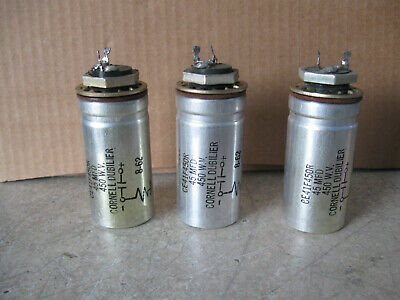 3 Vintage Cornell Dubilier Electrolytic Capacitor 45 MFD 450 WV