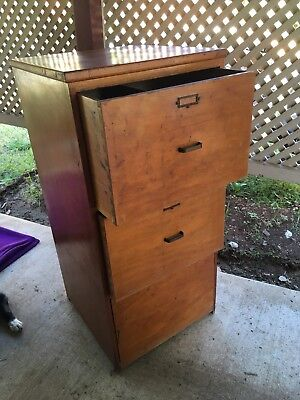Large Vintage Solid Wood Filing Cabinet