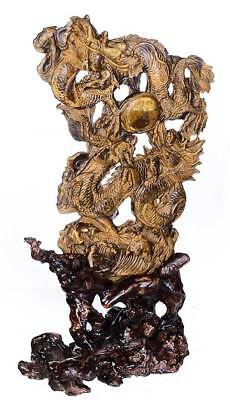 """10""""Natural Yellow Tiger Eye Two Dragons Playing a Pearl Carving Collectibles AJ6"""