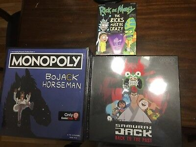 Brand New Board Game Lot : Monopoly Rick And Morty Samurai Jack