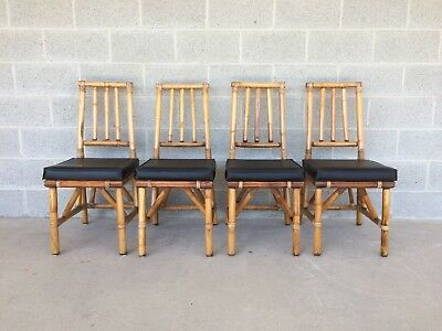Vintage High Quality Bamboo/rattan Set Of 4 Side Chairs/dining Chairs
