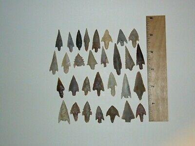 """30 Neolithic Stemmed Points Very Nice Group 2"""" Longest"""