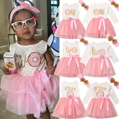 AU Toddler 1st/2nd/3rd Birthday Baby Girls Tulle Tutu Princess Party Dress 2pcs