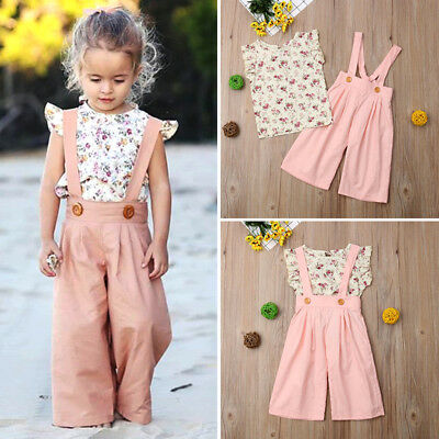 Toddler Kids Baby Girl Summer Floral Tops+Bib Pants Overalls 2PCS Outfit Clothes