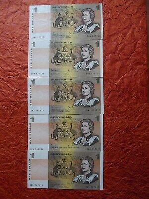 """1982 $1 Dollar - Paper Banknotes x 5 - """"Last Year of Issue"""" -  Johnston/Stone"""