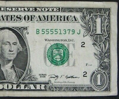 2009 $1 (One Dollar) – Note, Bill - Fancy Serial Number – Quad 5555