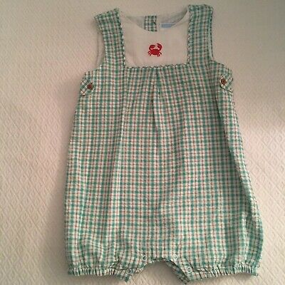 Janie And Jack Baby Boys Romper Size 12-18 Mos Green And White 100% Cotton