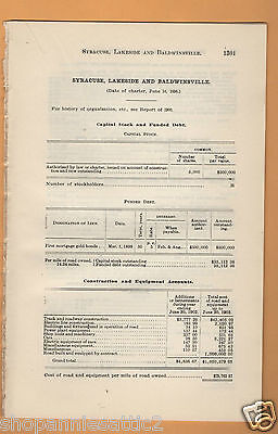 1902 NY RR report SYRACUSE TRANSIT LAKESIDE BALDWINSVILLE electric trolley trian