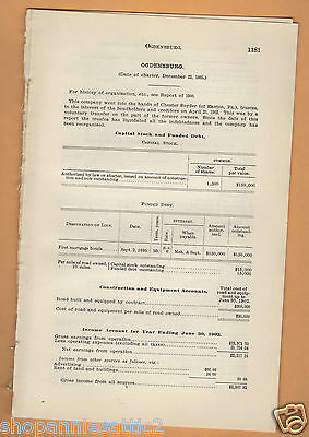 1902 NY RR report OGDENSBURG STREET RAILWAY vintage trolley ST Lawrence County