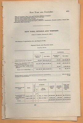 1893 NEW YORK ONTARIO AND WESTERN RAILROAD annual report to ny CORNWALL OSWEGO