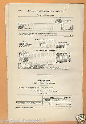 1902 New York RR report COHOES CITY RAILWAY New York streetcar trolley ALBANY NY