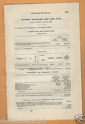 1902 NY RR report SOUTHERN BOULEVARD RAILROAD New York City electric trolley