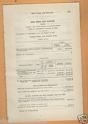 1902 NY RR rare report NEW YORK AND PUTNAM RAILROAD 155TH STREET NYC train paper