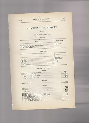 1906 annual report GAYLY LOCAL TELEPHONE CO. Allegheny County Pennsylvania PA
