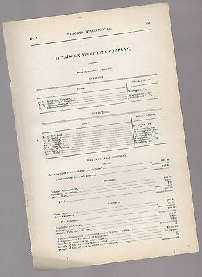 1906 annual report LOYALSOCK TELEPHONE COMPANY Lycoming County PA Pennsylvania