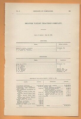 1906 train report BEAVER VALLEY TRACTION COMPANY Pittsburgh PA area Trolley car