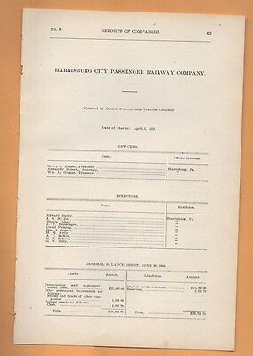 1906 train report HARRISBURG CITY PASSANGER RAILWAY cable car trolley PA RR