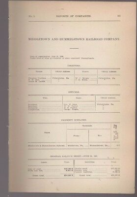 1908 Pennsylvania train report MIDDLETOWN & HUMMELSTOWN RAILROAD Dauphin County