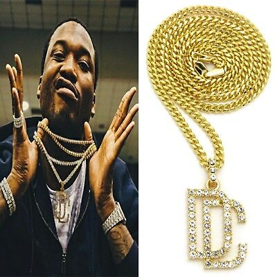 92c921cb7ee Meek Mill Dreamchasers Dc Pendant Gold Cuban Link Chain Necklace  Championships