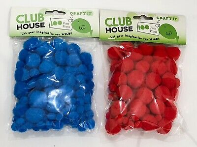 Pom Poms 100pk Assorted Sizes Blue or Red AUSSIE SELLER