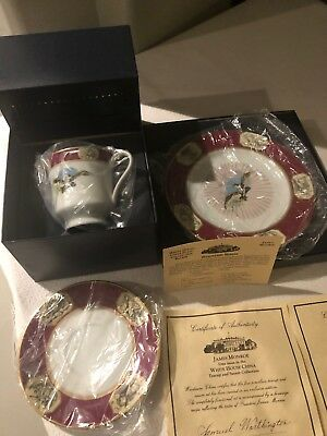 Woodmere White House China James Monroe Dessert Plate, Teacup And Saucer