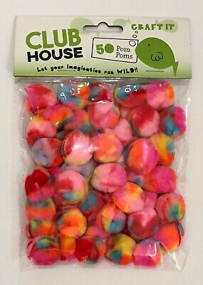 Rainbow Pom Poms 25mm x 50pc Unicorn  Coloured AUSSIE SELLER