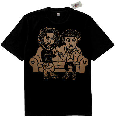 Fnly94  Black tan J. Cole  & J.I.D couch tshirt supreme rappers hip hop jid rap