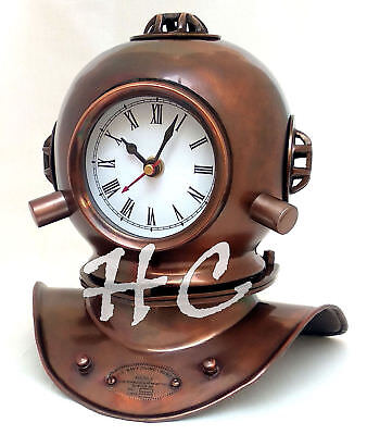 "Vintage Solid Brass Divers Helmet Clock Miniature Reproduction 8"" Decor Handmade"