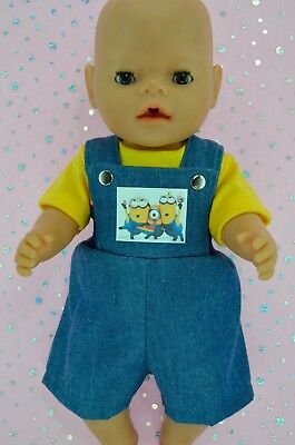 """Play n Wear Doll Clothes To Fit 17"""" Baby Born DENIM BIB DUNGAREE~T-SHIRT"""