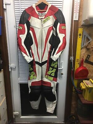 Ixs One Piece Motorbike Racing Leathers Euro 52/uk42 Chest Red/white/black/gree