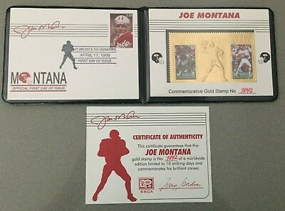 St Vincent JOE MONTANA Gold Stamp 23kt Gold Football Stamp.
