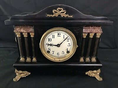 Antique American The Sessions Clock Company 8 Day Black Timber Mantle Clock