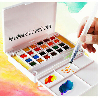 Solid Watercolor Pigment Set With Water Brush Sponge 12/18/24/30/36/40/48 Colors