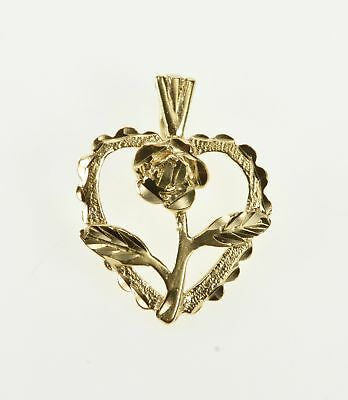 14K Scalloped Trim Heart Rose Flower Anniversary Charm/Pendant Yellow Gold *54