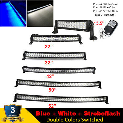 """Dual Colors 7"""" 14 22 32 42 50 52 IN LED Work Light Bar Offroad Driving Fishing"""