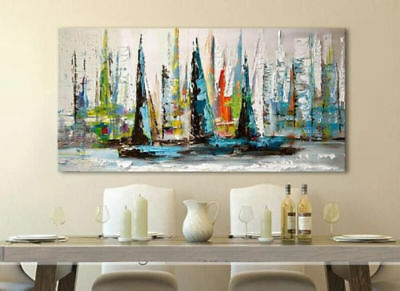 YA823 Modern Hand-painted abstract oil painting on canvas Boats Wall Decor art