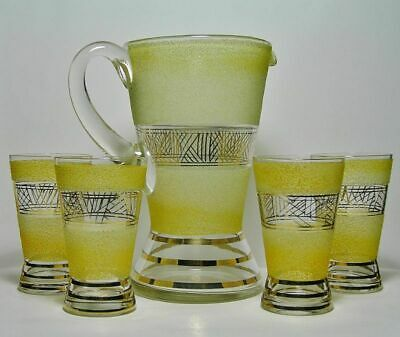 Vint JUG & GLASSES SET in Iconic ART DECO Style *Applied SUGAR GLASS & Gold GILT