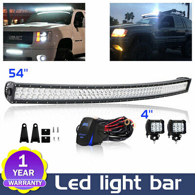 """54 inch 312W Curved LED Light Work Bar + 4"""" Pods Off-Road Driving Lamp SUV Truck"""