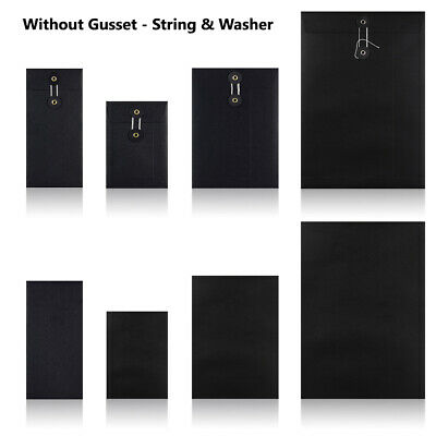 Black - W/O Gusset - String & Washer All Size Bottom & Tie Envelopes Mailer