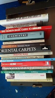 Books, 13 hdback & 3 p.back Car Boot lot. River Cottage Cookbook, Oz Clakes Wine