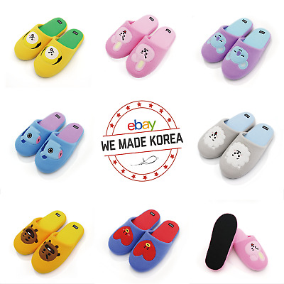 BTS BT21 Character Indoor Slipper Plush Cotton Warm Home Shoes K-pop Official MD