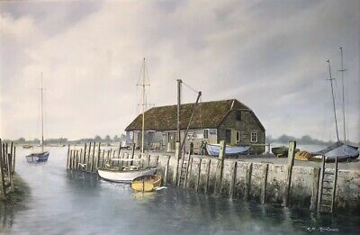 Signed R.G.Macdonald Dorset Quay Coastal Harbour Seascape Oil Painting On Board