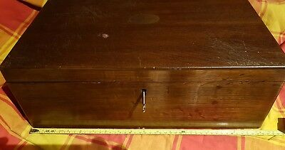 Antique /vintage Empty Wooden Cutlery Box - Brass Handles ,with 2 Removable Tray