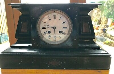 French Slate and Marble Mantel Clock, 8 Day Clock