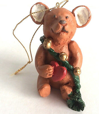 """Teddy Bear Ornament with Green Bell Cord and A Big Red Heart Unbranded 3"""" Tall"""