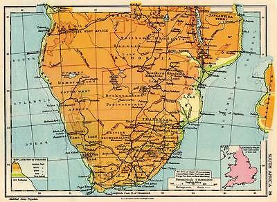 South Africa 1936 Original Antique Map