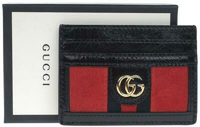 1e491bfb6876 New Gucci Ladies Ophidia Black Leather   Suede Double G Card Case Holder  Wallet