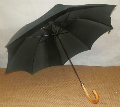 Vintage Black Umbrella With 12 Carat Rolled Gold Collar And Walnut? Crook Handle