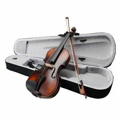 New 4/4 Classic Solid Wood Violin Retro Color with Shouler Rest Tuner Strings