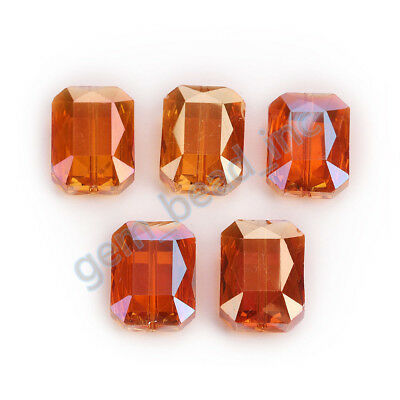 5pcs Wine Red 18mm Square Faceted Crystal Glass DIY Spacer Beads New Findings B